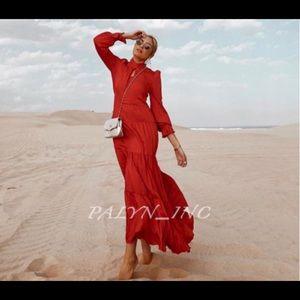 ZARA RED RUFFLED FLOWY DRESS